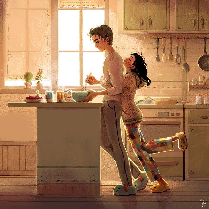 Sabah uyandığında kahvaltı yapmadan önce onu görebilmek.