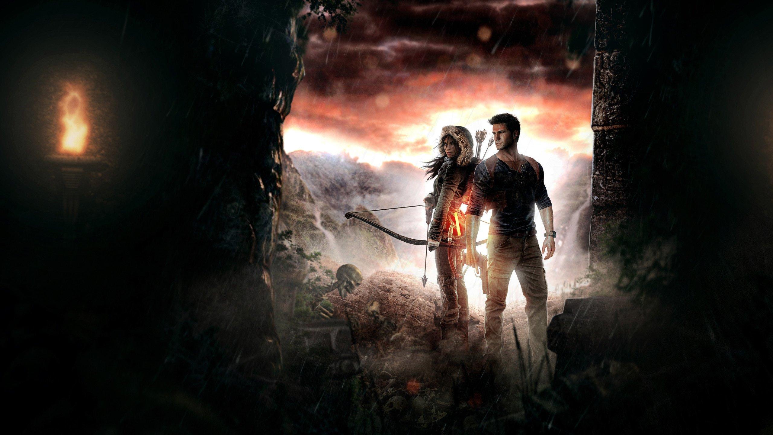 Lara Croft ve Nate Drake Bilgisayar Duvar Kağıdı