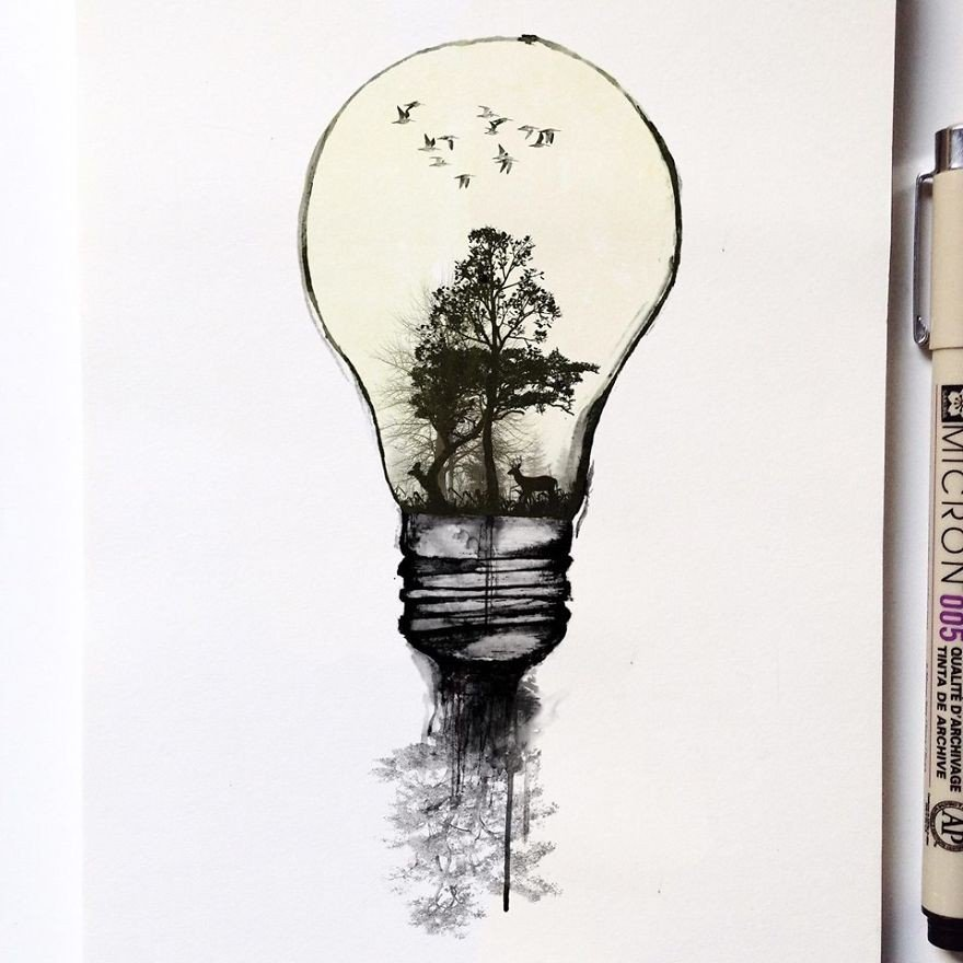 kara kalem doğa çizimi