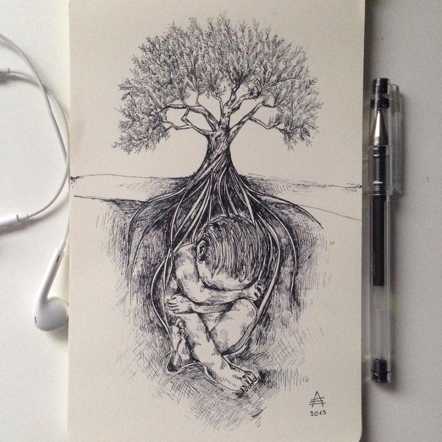 kara kalem ağaç ve insan çizimi