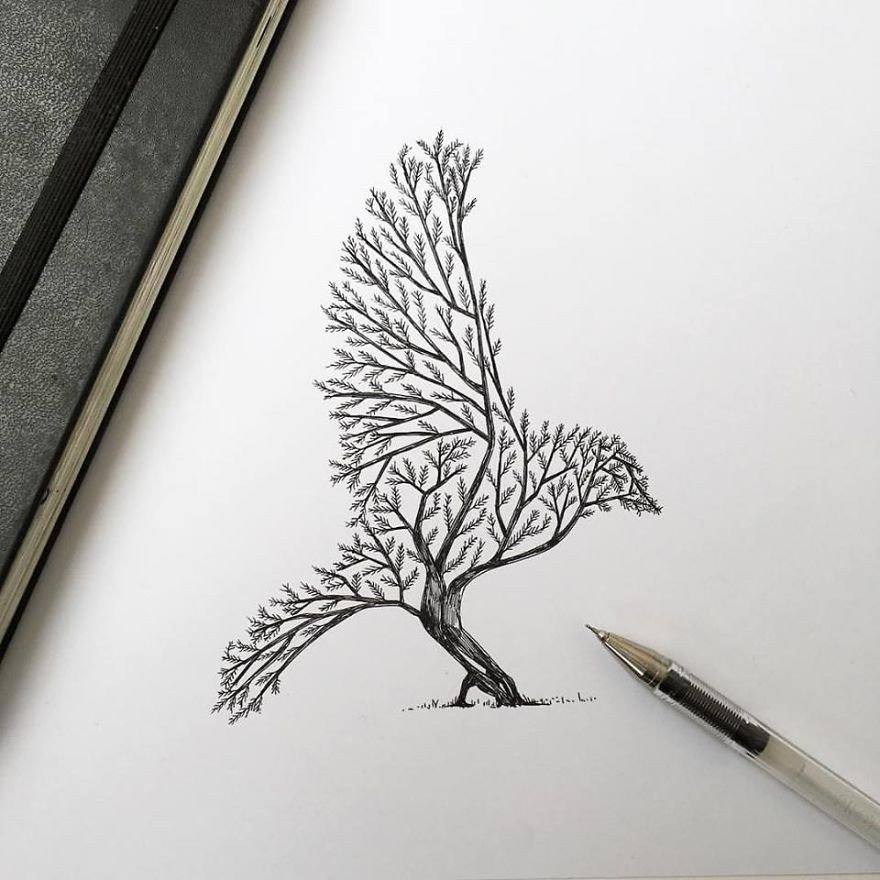 kara kalem kuş çizimi