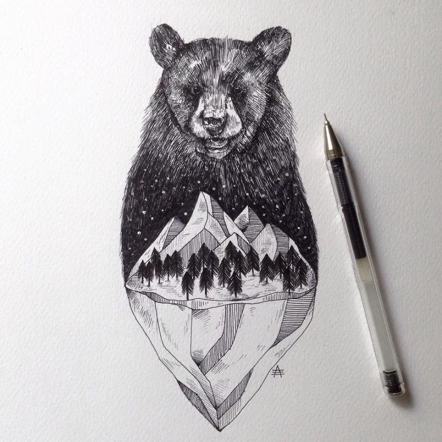 kara kalem ayı çizimi