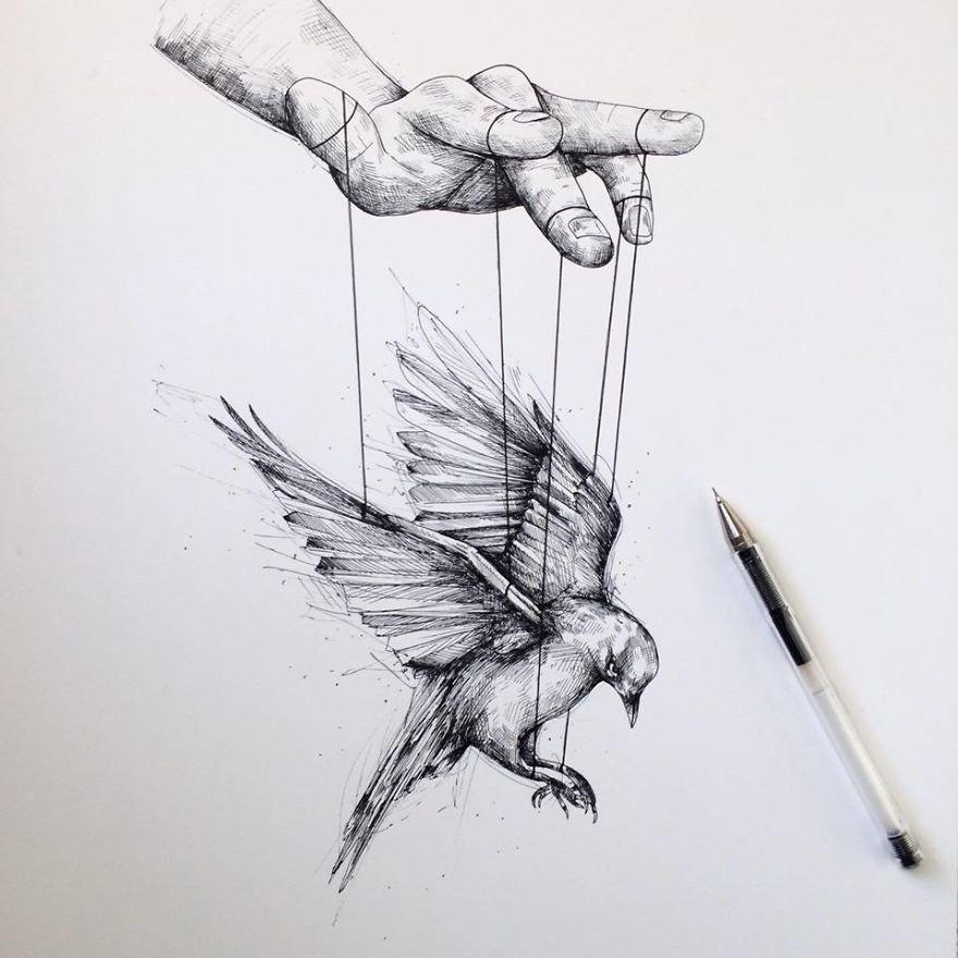 kara kalem çizilmiş kuş