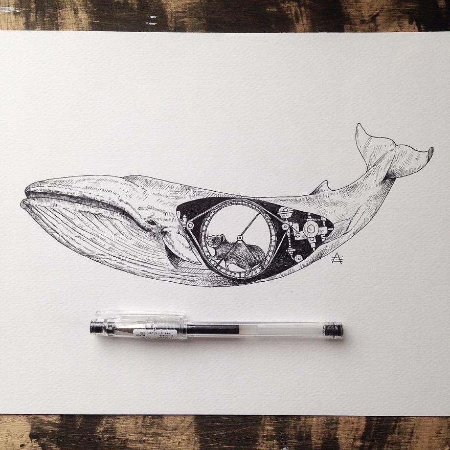 kara kalem balına çizimi