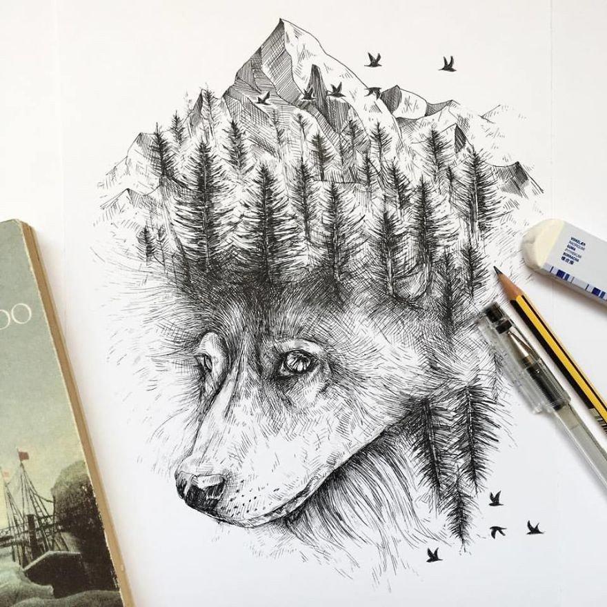 kara kalem çizilmiş kurt