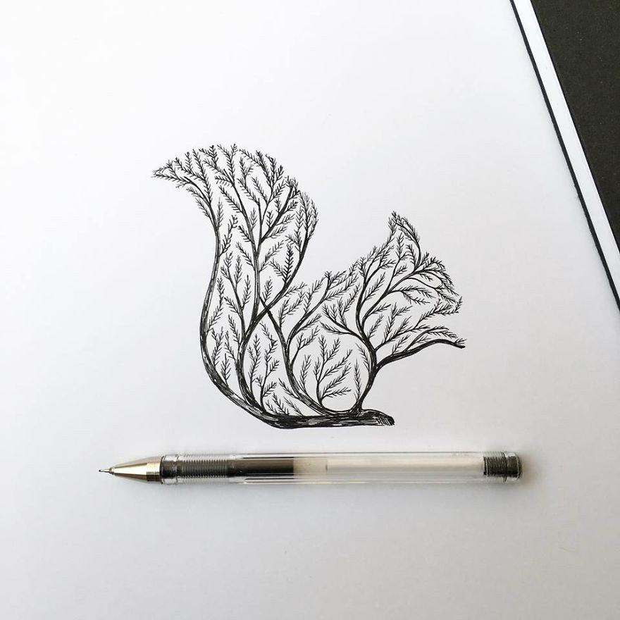 kara kalem sincap çizimi