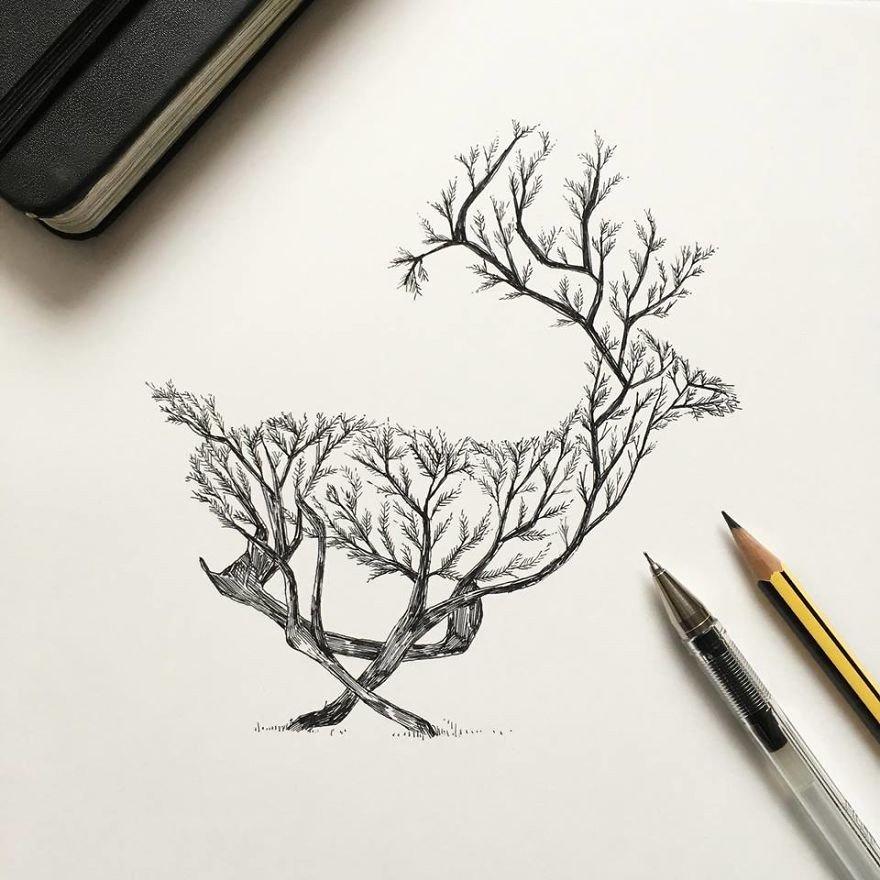 kara kalem geyik çizimi