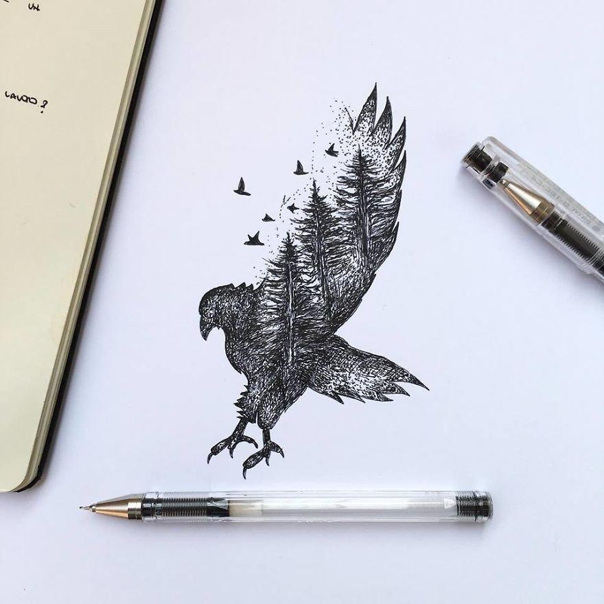 kara kalem kartal çizimi