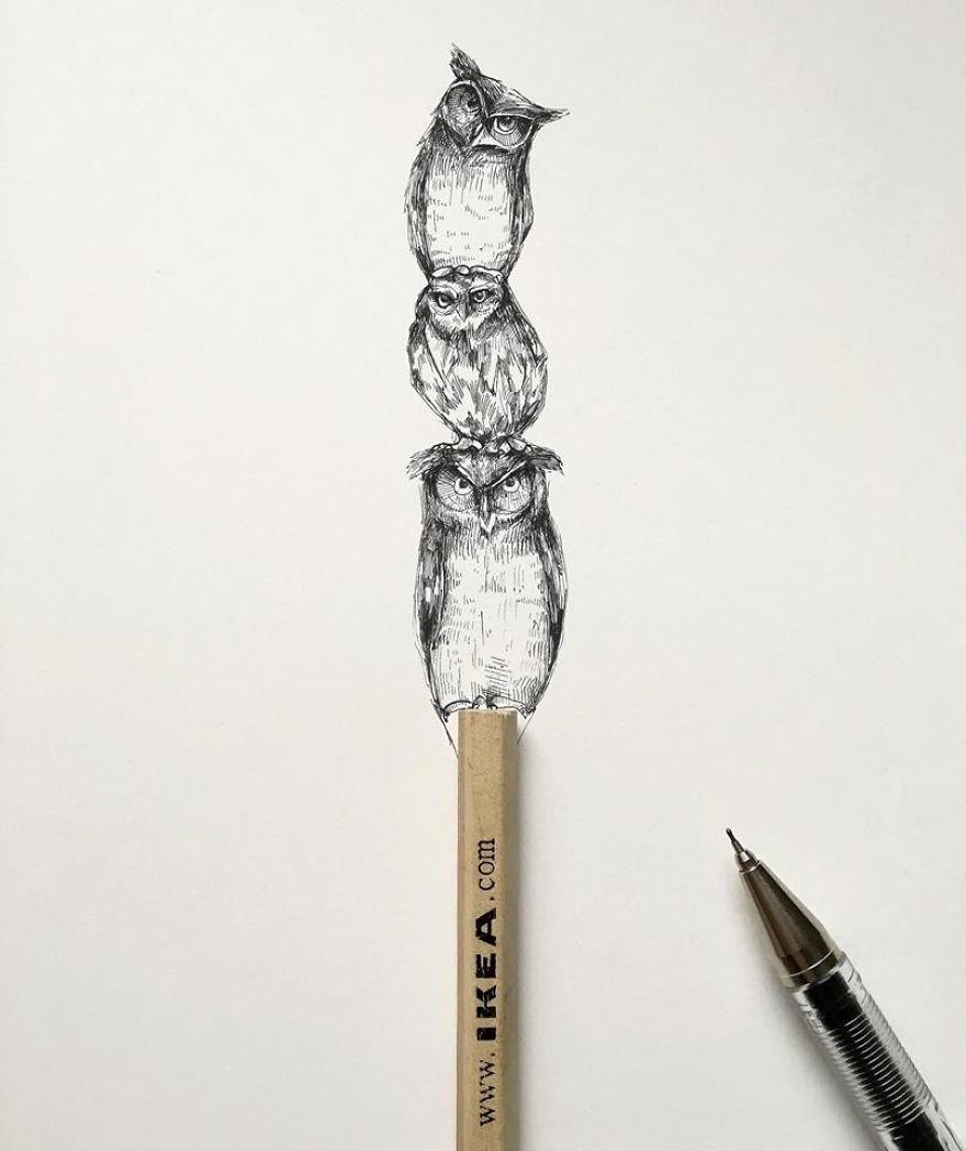 kara kalem baykuş çizimi