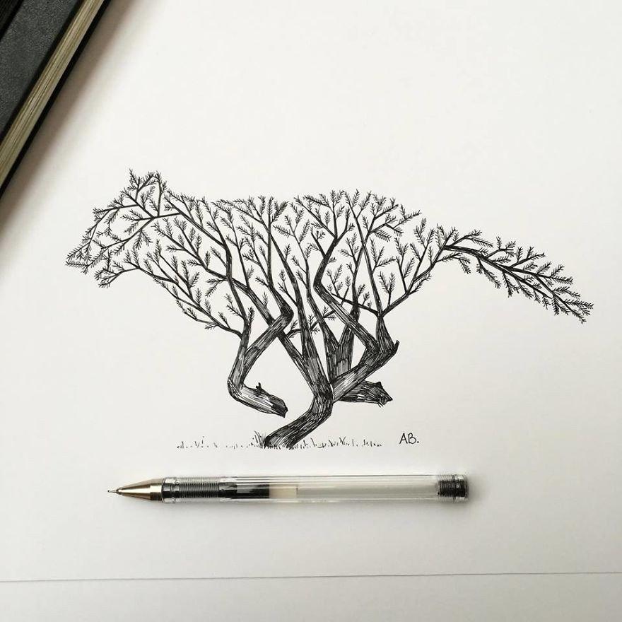 kara kalem kurt çizimi