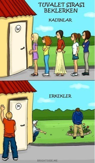 Tuvaleti gelen kadın ve erkeklerin davranışları
