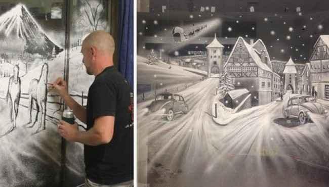 Kar Spreyi İle Sanat Eserleri Yaratan Adam