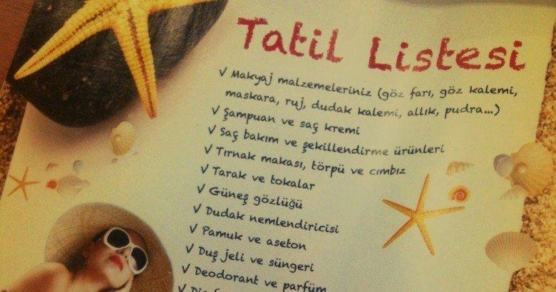 3.Tatil İçin Alacaklarınızın Listesini Yapın