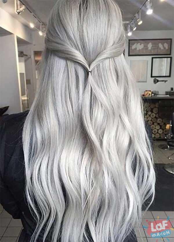 parlak beyaz saç rengi